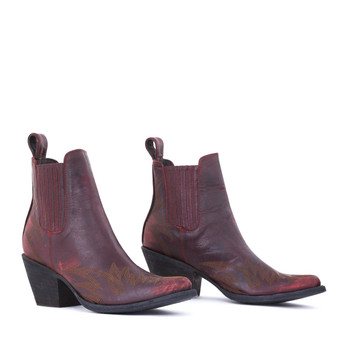 BL2497-3-LB MEXICANA  BOOTS GAUCHO LONG STITCH VESUVION RED RANCHEIRO ANKLE BOOTS