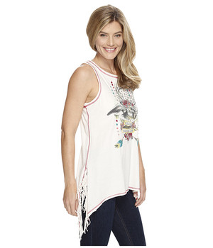 DOUBLE D RANCH JACKALOPE TANK - IVORY STRING