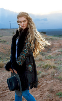 DOUBLE D RANCHWEAR LONG CANYON BLACK LEATHER COAT