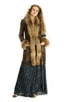 DOUBLE D RANCHWEAR LONG CANYON BROWN LEATHER COAT