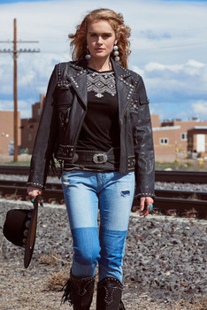 DOUBLE D RANCHWEAR HELL'S CANYON BLACK LEATHER BIKERS JACKET