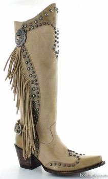 "DDL017-3 DOUBLE D RANCH RUSTY RAVINE BONE FRINGE 15"" TALL BOOTS"