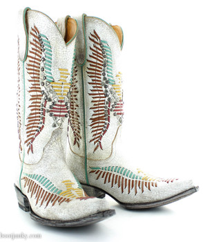 "L2971-2 OLD GRINGO HARPER TAUPE MULTI COLOR STITCH 13"" BOOTS"