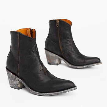 BL0958-TBD OLD GRINGO STAR BLACK CHOCOLATE ANKLE BOOTS
