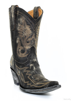 """L 175-205-SS OLD GRINGO NEVADA 10"""" DISTRESSED BLACK / GOLD COWGIRL BOOTS"""