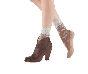 BOOTIGHTS Floral Lace Sheer Crew Socks