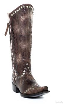 """L 598-3-SS OLD GRINGO ROCKRAZZ CHOCOLATE 13"""" COWGIRL BOOTS"""