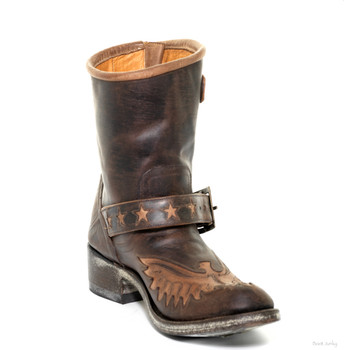 L 785-1-SS OLD GRINGO EAGLE STAR CHOCOLATE LEATHER BIKER BOOTS
