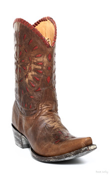 L 813-2-SS OLD GRINGO DALE DALE BRASS / RED COWGIRL BOOTS
