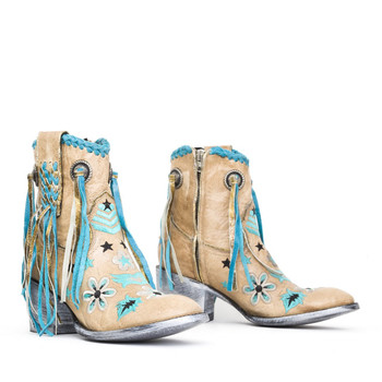 """L2726-1-2012 MEXICANA  NAGANO 7"""" BONE TURQUOISE ANKLE BOOTS"""