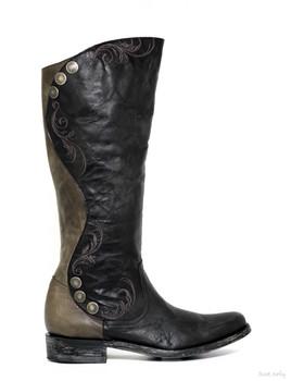 "L1067-8-SS OLD GRINGO PROCELLA 16"" BLACK / GRAY EQUESTRIAN BOOTS"