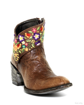 """L1085-2-SS OLD GRINGO MINISORA 7"""" BRASS EMBROIDERED ANKLE BOOT"""
