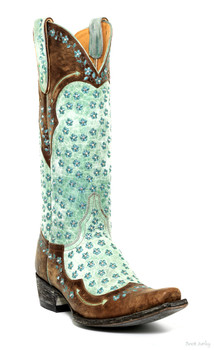 """L1091-2-SS OLD GRINGO TABETHA 13"""" BRASS/AQUA EMBROIDERED COWGIRL BOOTS"""