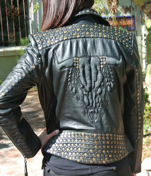 Double D Ranch Zuniga Skull Black Leather Jacket