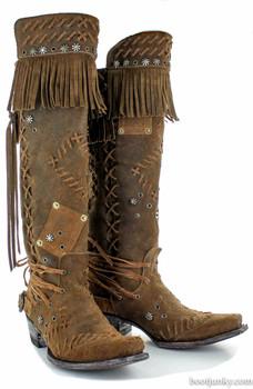 DDL034-1 DOUBLE D RANCH SIERRA MADRE BRASS DESTROYED FRINGE RIVETED TALL BOOTS