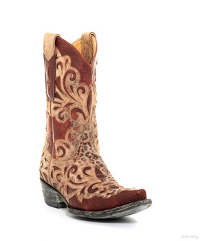 """L1133-4-SS OLD GRINGO LINDA LOU 10"""" RED / BONE LEOPARDITO COWGIRL BOOTS"""