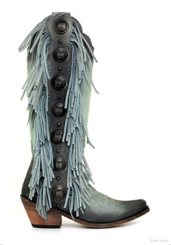 LB712953 LIBERTY BLACK OPHELIA AQUA BLUE TALL FRINGE LEATHER BOOTS