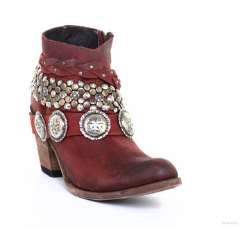 LB712368G LIBERTY BLACK LUCY RED ROJOS STUDDED LEATHER ANKLE BOOTS