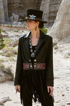 Double D Ranchwear Chimayo Pilgrim Black Leather Jacket