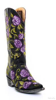 "L1284-7-SS OLD GRINGO ZIGGY ROSE BLACK / VIOLET 13"" COWGIRL BOOTS"