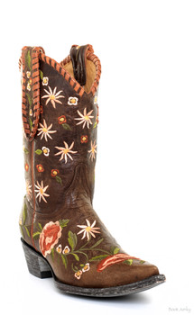 "L1287-5-SS OLD GRINGO AUGUSTA 10"" BRASS EMBROIDERED COWGIRL BOOT"