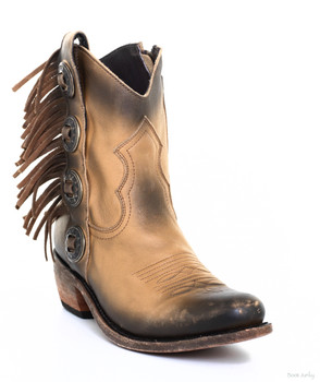 LB711158F LIBERTY BLACK CONCHO FRINGE DELANO CAMEL ANKLE BOOT