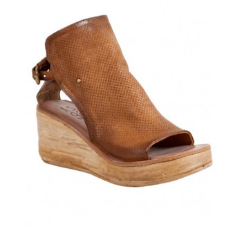 AS98 NATHAN CASTAGNA RUST WEDGE PEEP TOE LEATHER WOMEN'S SANDAL
