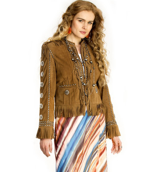 DOUBLE D RANCH PALAVADERA CARMEL MOCCASIN FRINGE LEATHER WOMENS JACKET