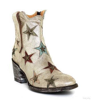 BL2559-5-2012 MEXICANA  BOOTS TATIS METALLIC SILVERY GOLD DISTRESSED STAR ANKLE BOOTS