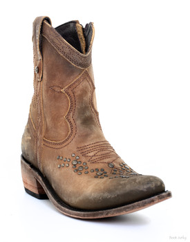 LB71116 LIBERTY BLACK COURTNEY DISTRESSED AMERICA TAN LEATHER STUDDED BOOTIE