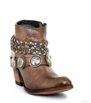 LB712368F LIBERTY BLACK ACACIA COBRE STUDDED METALLIC LEATHER ANKLE BOOTS