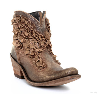 LB711549I LIBERTY BLACK CAROLINA ACACIA COBRE METALLIC BRONZE LEATHER FLORAL ANKLE BOOTS
