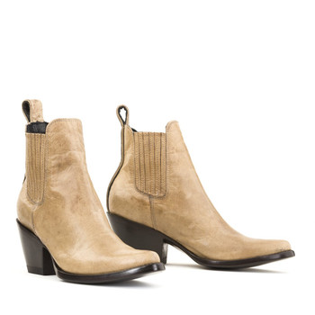 BL 395-128-LB MEXICANA BOOTS BEIGE BONE LEATHER ANKLE BOOTS