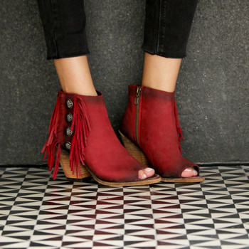 LB712807 LIBERTY BLACK ROJO RED OPEN TOE LEATHER BOOTIE