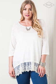 PD1029 Kori Bohemian Cowgirl Lace Trimmed Top Off White