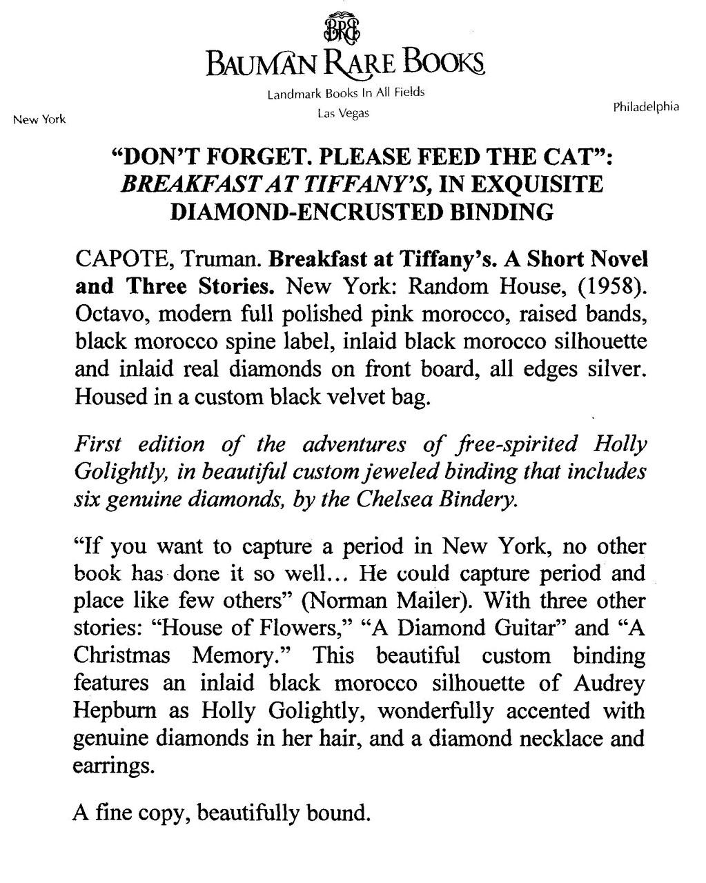 Breakfast at Tiffany's by Truman Capote, Custom Inlaid Chelsea Binding