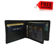 Men's Leather Bifold Credit/ID Cards Holder Dollar Size Slim Wallet Money Purse