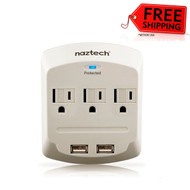 New Naztech NP160 Power Center with Surge Protector - White # NP160-12153