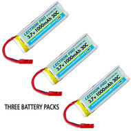 Lectron 1S 3.7V 1000mAh LiPo (3) Battery Packs : Dromida Ominus / Vista Quad