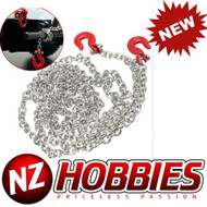 NZHOBBIES 1/10 Rock Crawler Scale Accessory Metal Drag Chain w/ Red Tow Hooks