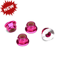 Traxxas 1747P - Nuts, Aluminum, Flanged, Serrated (4mm) (Pink-Anodized) (4)