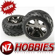 Traxxas 3773A Rear All Star BK Wheels w/ Anaconda Tires Rustler Stampede VXL XL5