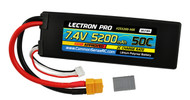 Lectron Pro 7.4V 5200mAh 50C Lipo Battery w/ XT60 Connector + CSRC adapter for XT60 batteries to Traxxas® vehicles