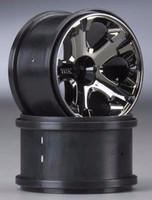 Traxxas 5577A Front All-Star 2.8'' BK Chrome Wheels Nitro Stampede Rustler Jato