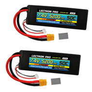 Combo Lectron Pro 7.4V 5200mAh 50C Lipo Battery w/ XT60 Connector + CSRC adapter for XT60 batteries to Traxxas® vehicles