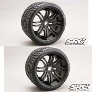 Sweep RC Monster Truck Road Crusher Belted Tire Pre-Glued on Black Wheel 2pc set