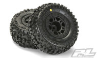 "Proline 1182-22 Badlands SC 2.2""/3.0"" Tires Mounted on Split Six Black Slash Rear Wheels"