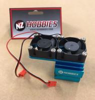 NZHOBBIES Aluminum Motor Heatsink + Twin Cooling Fan Traxxas Slash 4X4 BLUE