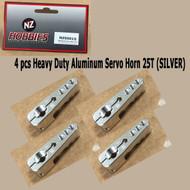 NZ HOBBIES Aluminum Servo Horn 25T (Silver) Axial, Futaba & Savox Servos (4pcs)