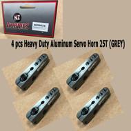 NZ HOBBIES Aluminum Servo Horn 25T (Grey) Axial, Futaba & Savox Servos (4pcs)